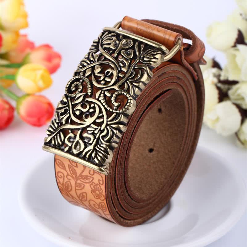 Only 14.18 €, Exit buckle women vintage flower leather belt hollow enhances waist belt waist Khaki- Chicuu.com