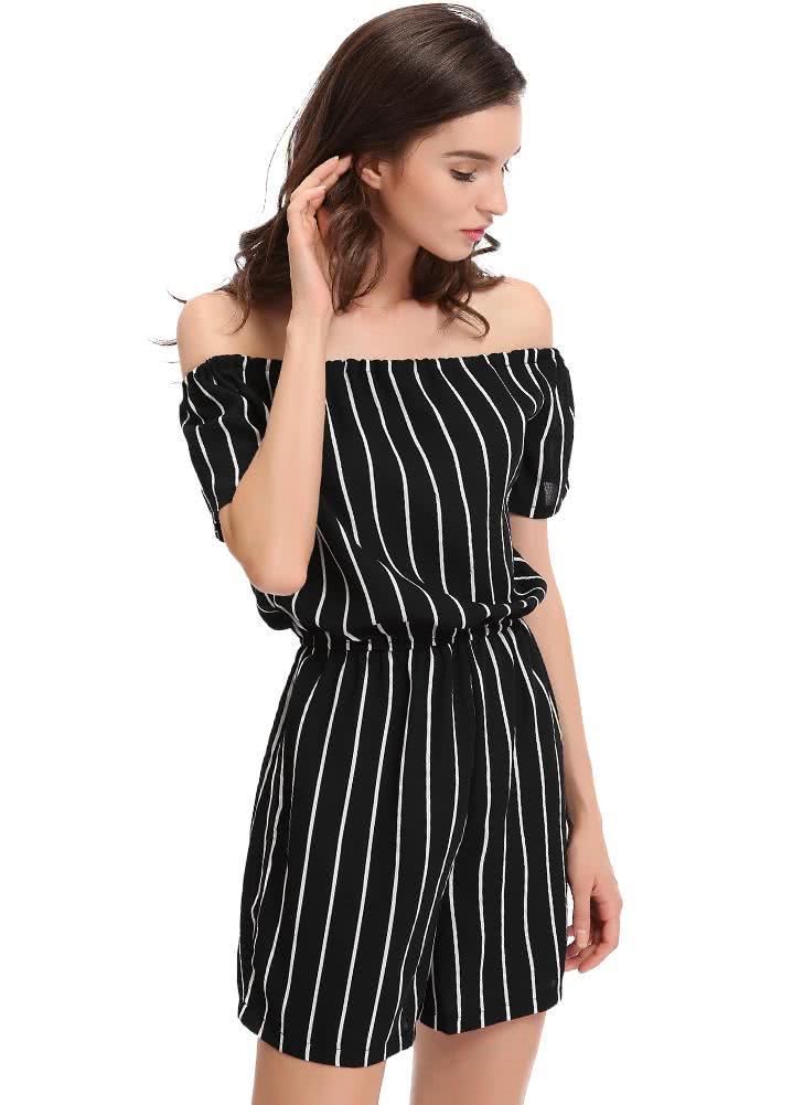 Only US$18.54, Sexy Off Shoulder Black White Stripe Jumpsuit ...