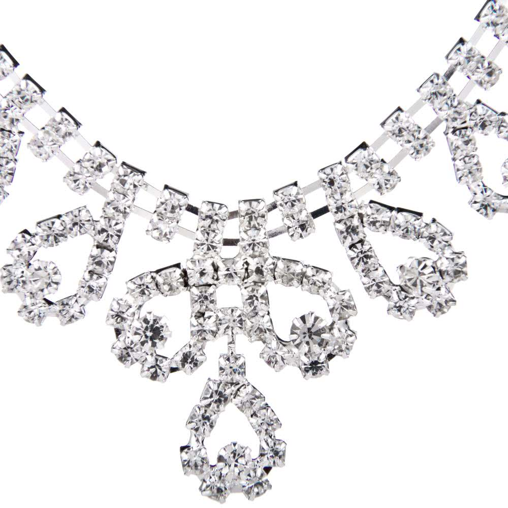 Only 17.11 €, Zinc Alloy Trendy Women Rhinestone Crystal Pendant Necklace & Earrings Bridal Jewelry Set for Bride's Wedding Party Gift- Chicuu.com