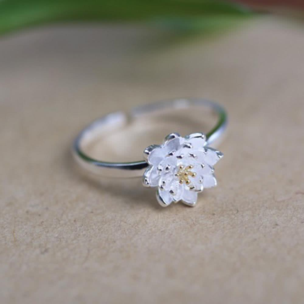 Only 4.96 €, Romantic Fashion Lotus flower plant silver silver adjustable ring jewelry accessory for girls wedding girls girls- Chicuu.com