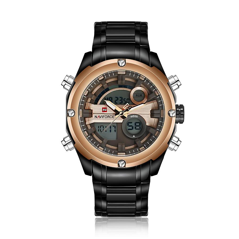 black gold naviforce dual time water resistant durable