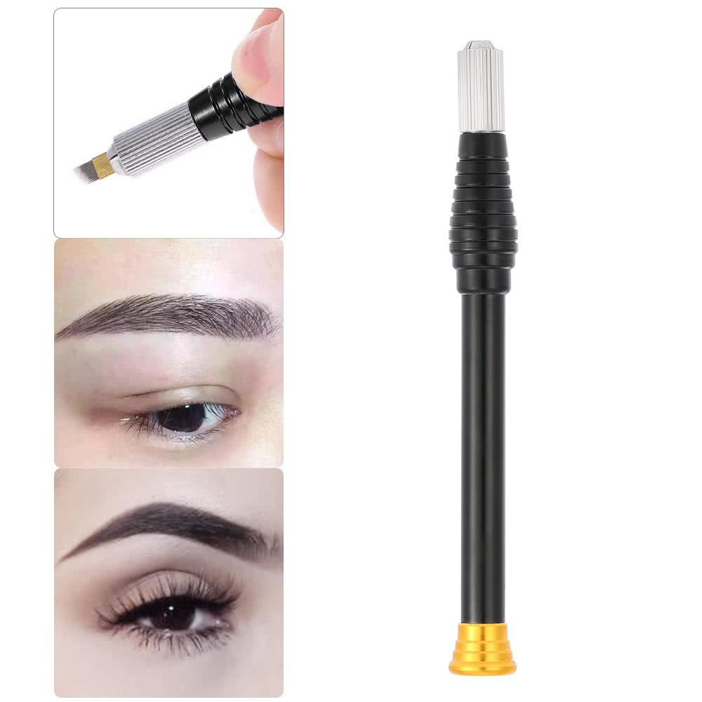 Black alloy handle microblade embroidery lasting eyebrow for Eyebrow tattoo pen