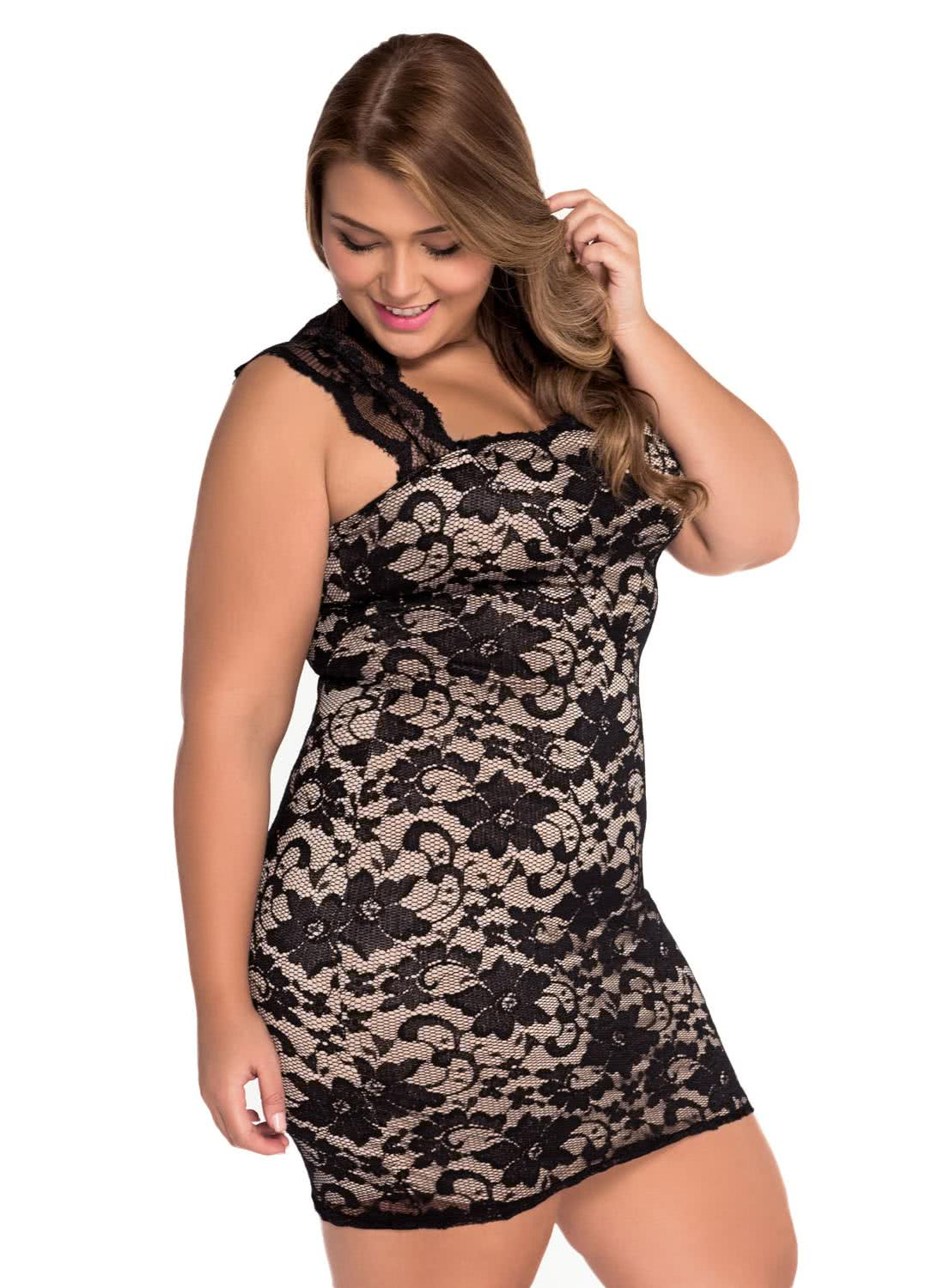 Black And White Plus Size Tail Dress