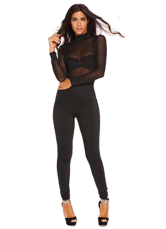 Only US$23.07 Black L Black Mesh Top Turtleneck Jumpsuit - Chicuu.com