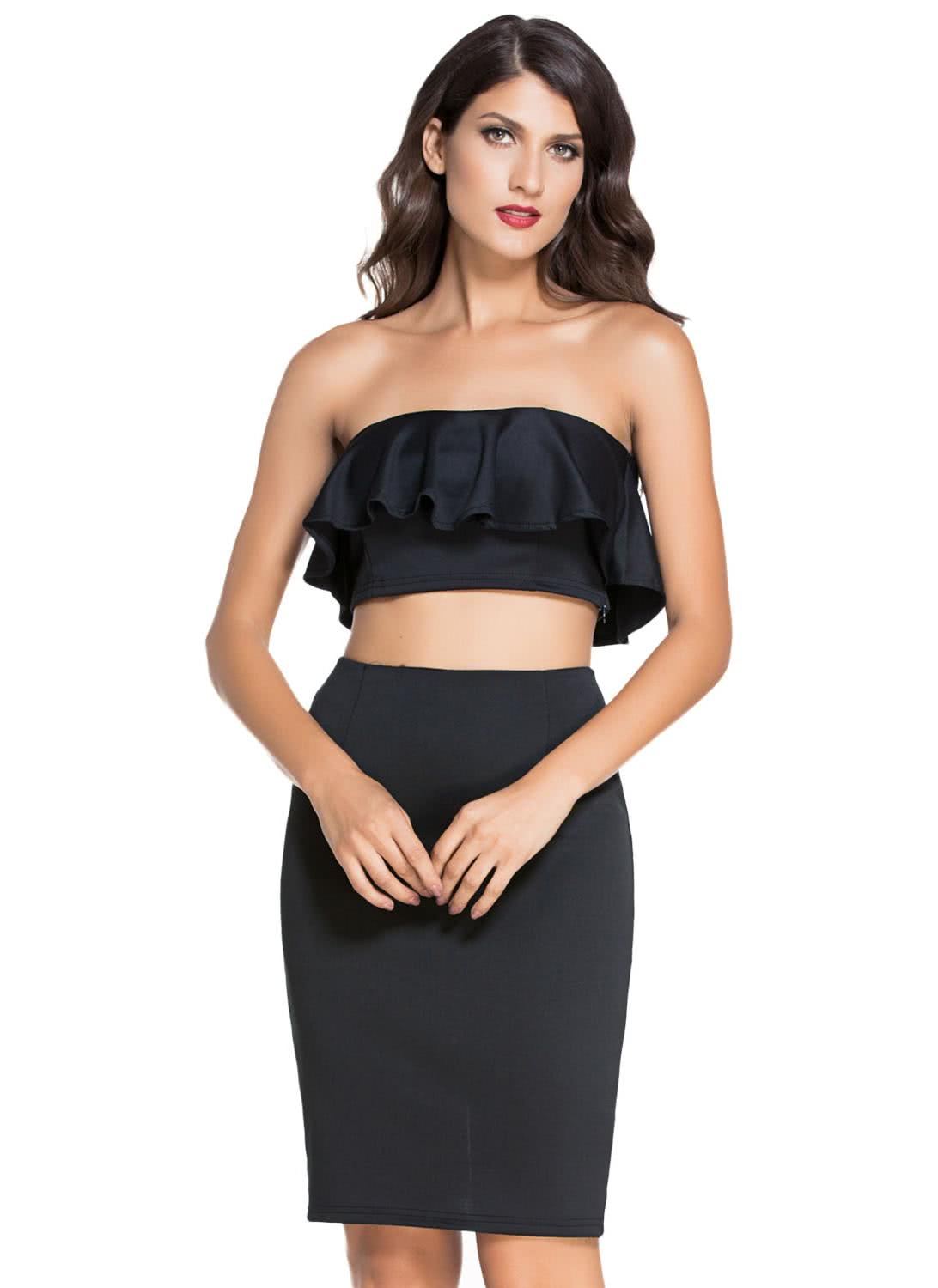 Only Us 20 64 Black Ruffle Two Piece Skirt Set Chicuu Com