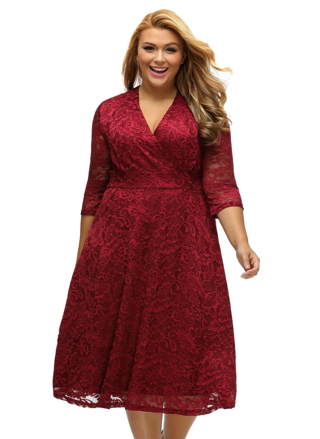Only US$34.67, #3 xl Plus Size Surplice Lace Long Sleeve Skater ...