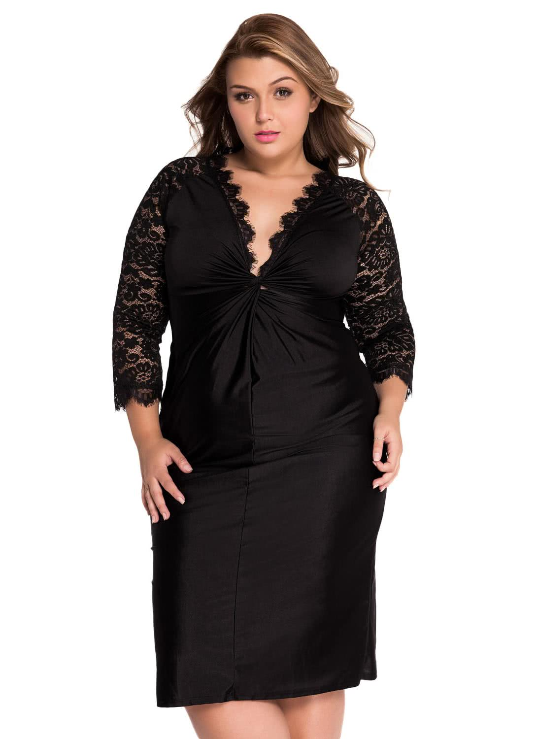 Black xxl plus size cocktail dress with lace sleeves chicuu for Cocktail xxl