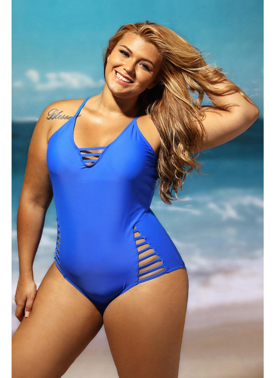 xxl Plus Size Cut out One Piece Swimsuit