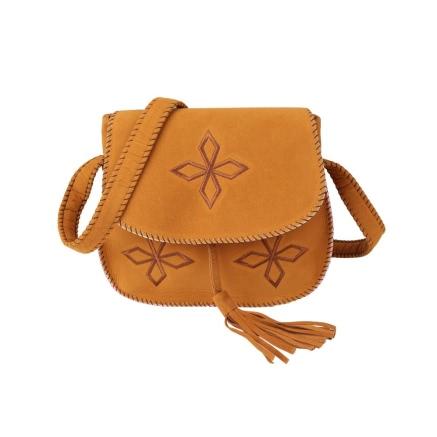 Buy Boho Embroidery Tassel Stitch Edge Flap Front Suede Shoulder Crossbody Bag