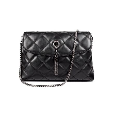 Buy Elegant Tassel Pu Leather Quilted Plaid Chain Thread Black Crossbody Bag