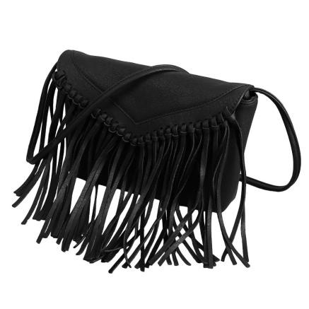 Buy Boho PU Leather Crossbody Tassel Shoulder Black Mini Bag