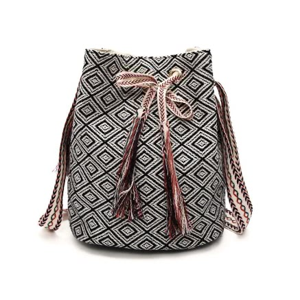 Buy Ethnic Plaid Tassel Shoulder Bag