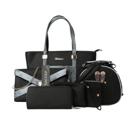 PU Leather Crocodile Texture Zipper Elegant 6 Pieces Tote Bag Set