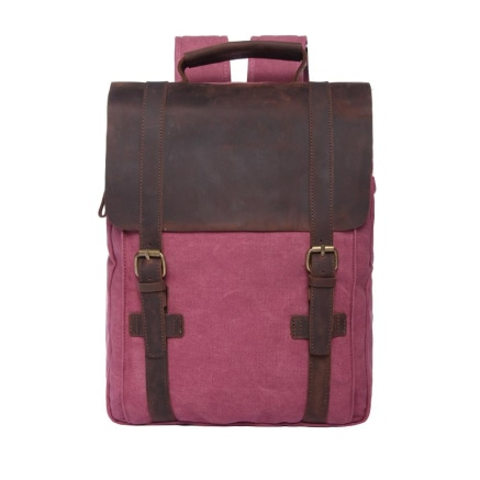 Canvas Backpack Leather Splice Large Capacity Schoolbag