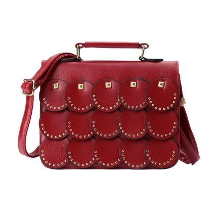 Buy Chic PU Leather Rivet Round Panel Flap Front Shoulder Strap Crossbody Bag