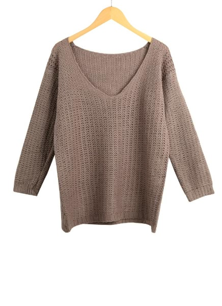 Hollow See V Neck Long Sleeve Sweater Knitted Pullover