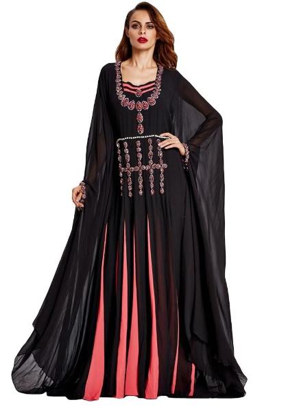 Buy Muslim Beading Contrast Splicing Batwing Sleeves Pleated Abaya Jilbab Robe