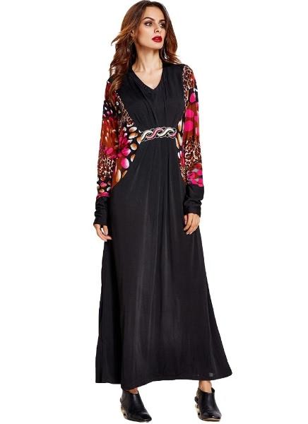 Buy Muslim Print Splicing V Neck Batwing Sleeve Vintage Islamic Abaya Jilbab Robe