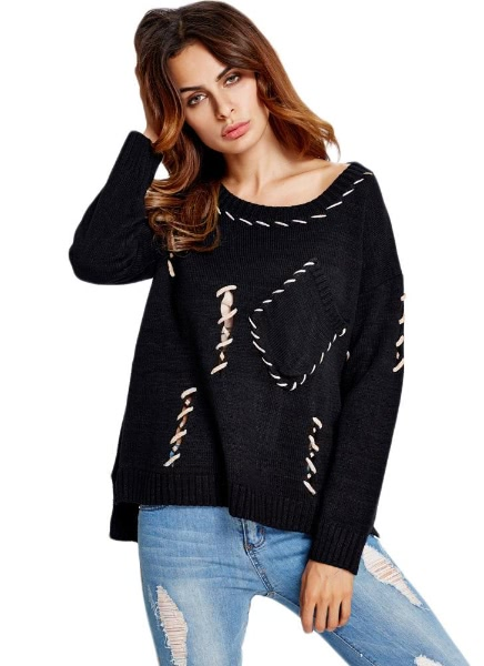 Buy Hollow Pocket Split Low High Hem Long Sleeve Sweater Knitted Pullover