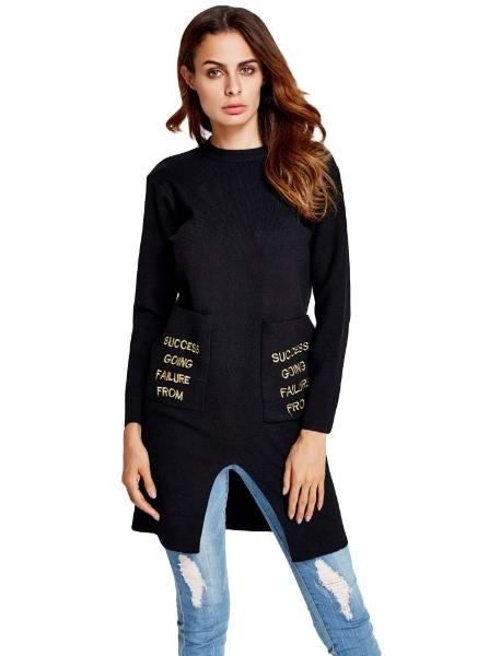 Buy Letter Print Pocket Split Hem Long Sleeve Sweater Knitted Pullover