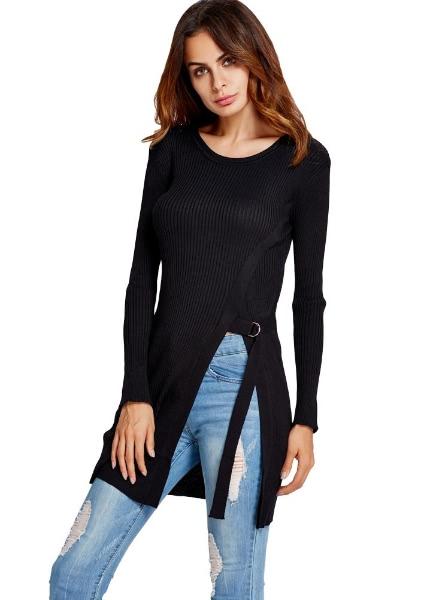 Buy Split Side Tie Long Sleeve Slim Sweater Knitted Pullover