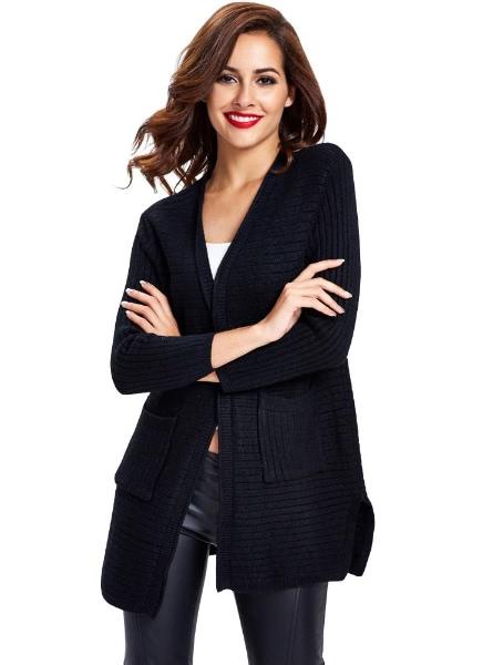 Buy Long Sleeve Pocket Split Hem Loose Knitted Cardigan