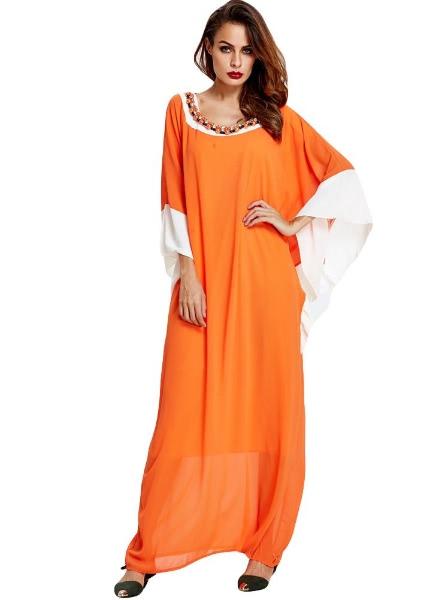 Buy Splice Color Batwing Sleeve Abaya Robe Kaftan Dubai Long Dress
