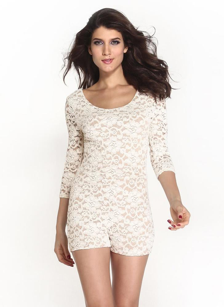 Buy Sexy Floral Lace Knitted Backless Scoop Neck 3/4 Sleeve Rompers