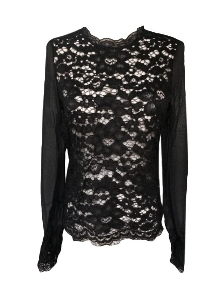 Buy Women See-through Crochet Lace Chiffon Patchwork Shirt