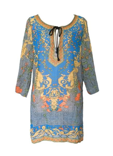 Buy Women Baroque Floral Print V Neck Bohemian Shift Beach Dress