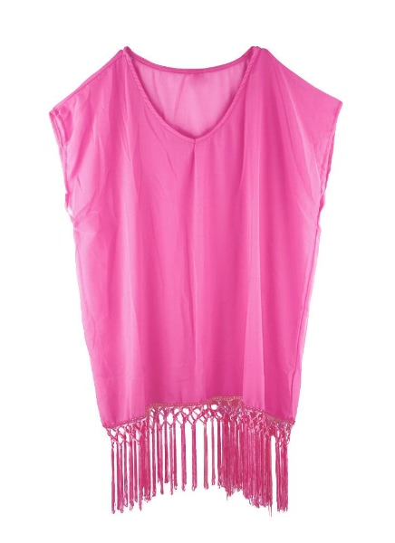 Buy Fashion V Neck Short Sleeve Chiffon Swimwear Cover