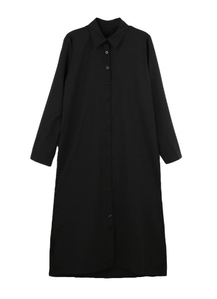 Buy Casual Turn-Down Collar Side Split Long Sleeve Maxi Shirt Dress
