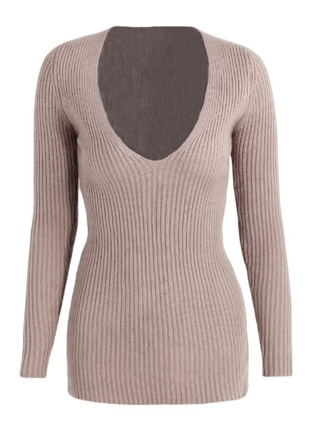 Deep V Neck Knitted Pullover Nightclub Bodycon Sweater