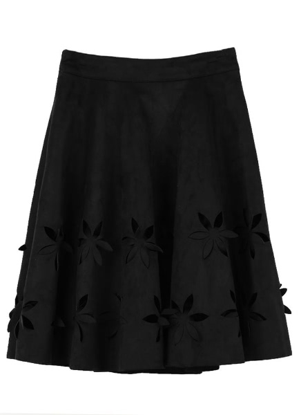 Buy Retro Hollow Flower High Waist Pleated A-Line Tutu Faux Suede Skirt