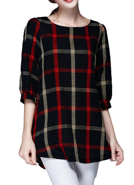 Buy Plaid Print Round Neck 3/4 Sleeve Plus Size Loose Blouse