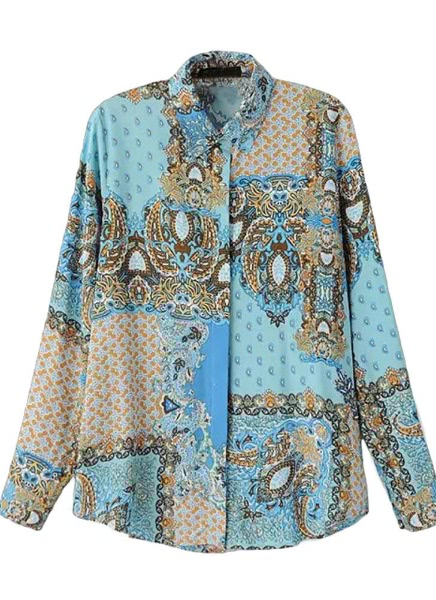Buy Vintage Print Button Placket Turn-Down Collar Long Sleeve Blue Blouse