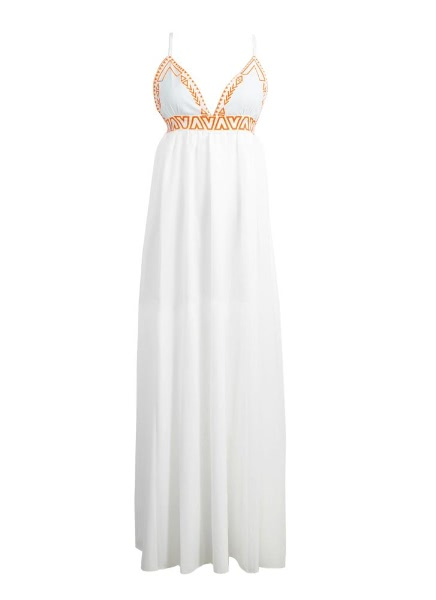 Buy Boho Cross Backless V-Neck Sleeveless Spaghetti Strap White Maxi Dress