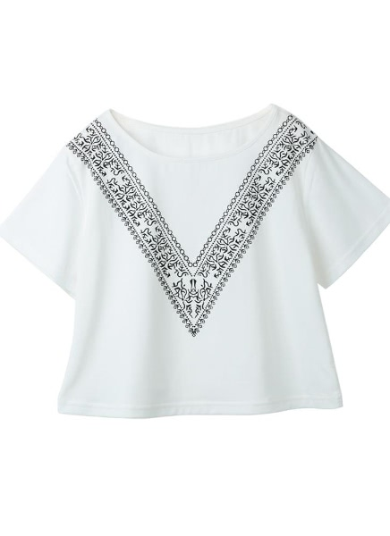 Buy Summer Contrast V Print Short Sleeve O Neck Cropped Boxy White T-Shirt