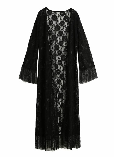 Buy Boho Open Front Tassel Long Sleeve Black Lace Kimono