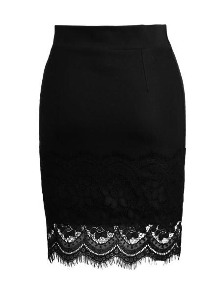 Buy Elastic High Waist Hollow Crochet Lace Mini Black Skirt