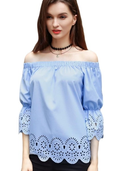 Buy Shoulder Floral Hollow Blouse