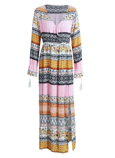 Buy Anself Vintage Floral Long Sleeves Maxi Dress
