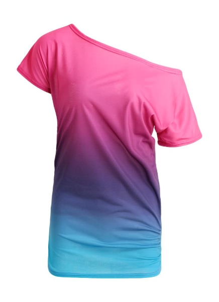 Buy Rainbow Gradient Ruffled O-Neck T-shirt
