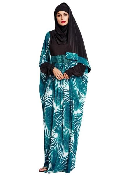 Buy Muslim Contrast Print Sequin Details Abaya Jilbab Robe Hijab Blue