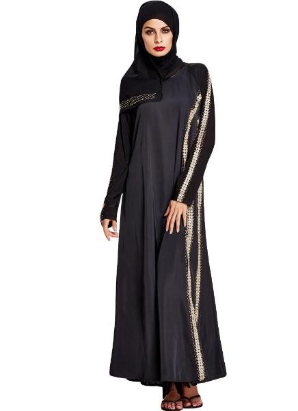 Buy Muslim Split Solid Color Abaya Jilbab Robe Hijab