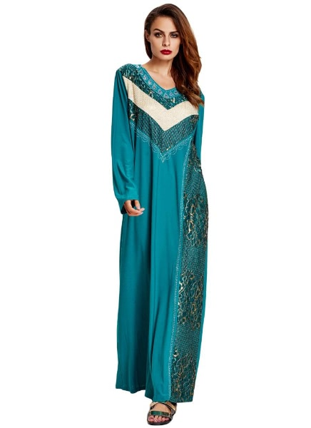 Anself Muslim Abaya Sequin Long Sleeve Robe Maxi Dress