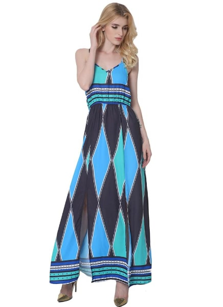 Colorblock Geometric Pattern V Neck Sleeveless Side Split Maxi Cami Dress