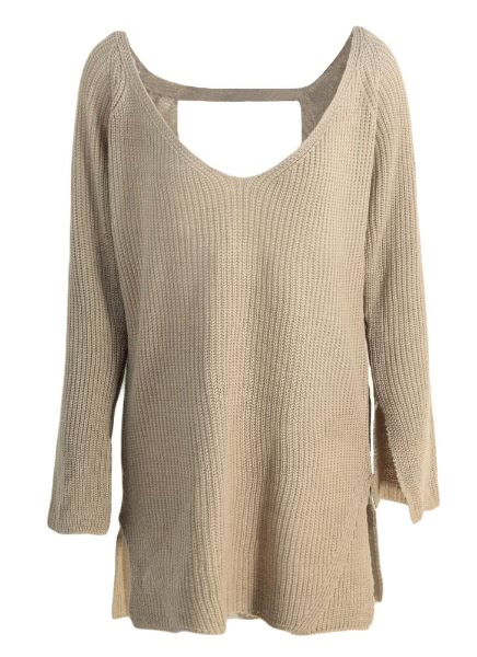 Backless Deep V Neck Long Sleeve Loose Sweater Knitted Pullover