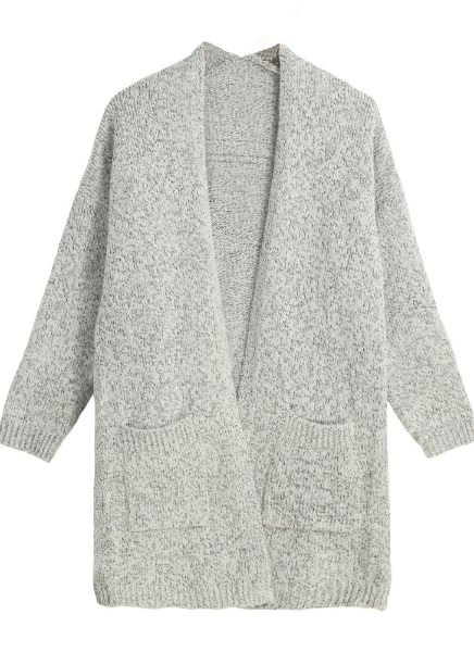 Open Front Pocket Long Sleeve Loose Cardigan Knitted Coat