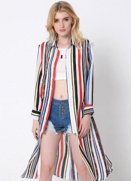 Buy Sunproof Contrast Stripe Split Hem Turn-Down Collar Midi Chiffon Shirt Outwear